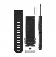 Black Leather Watch Band - 010-12168-29 - Garmin