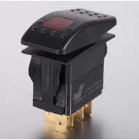 Rocker Switch with Light - 3 phase - Single Pole Single Throw SPST On-Off - JH-A11323ARX - ASM