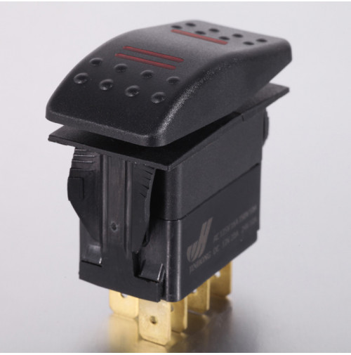 Rocker Switch without Light - 4 phase - Single Pole Double Throw SPDT On-On - JH-A11533CRX - ASM