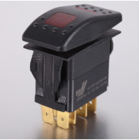 Rocker Switch with Light - 4 phase - Single Pole Double Throw SPDT On-Off-On - JH-A11633ERX - ASM