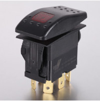 Rocker Switch with Light - 4 phase - Double Pole Single Throw DPST On-Off - JH-A22322ARX - ASM
