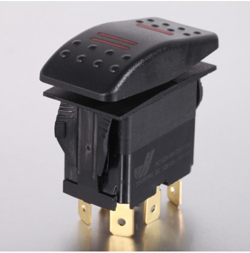 Rocker Switch without Light - 6 phase - Double Pole Double Throw DPDT On-Off-On - JH-A22532ERX - ASM