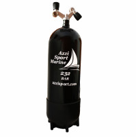 Steel Tank with 2 Outlets Inverted V valve and Boot - 15 L - 230B  - TK-A1508127 - AZZI SUB