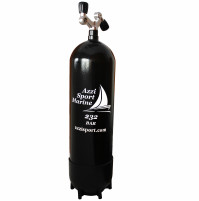 Steel Tank with 2 Outlets inverted V valve Giano and Boot - 18 L - 230B  - TK-A1808218 - AZZI SUB