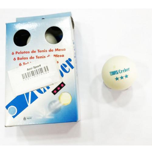 Ping Pong Balls with 3 Stars - White - Pack of 6 Balls - BAL-P21030  - Creber