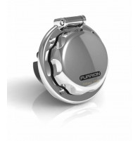 Stainless Steel Round Inlet with Locking Cover - Plug Male - 16 A - 250 V - F16INS-SS - FURRION