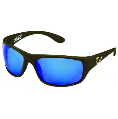 HP POLARIZED SUNGLASSES, BLACK FRAME, SMOKE LENS WITH BLUE REVO - HP100A-1 - Mustad