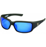 HP POLARIZED SUNGLASSES, BLACK VENTED FRAME, SMOKE LENS WITH BLUE REVO - HP102A-1 - Mustad