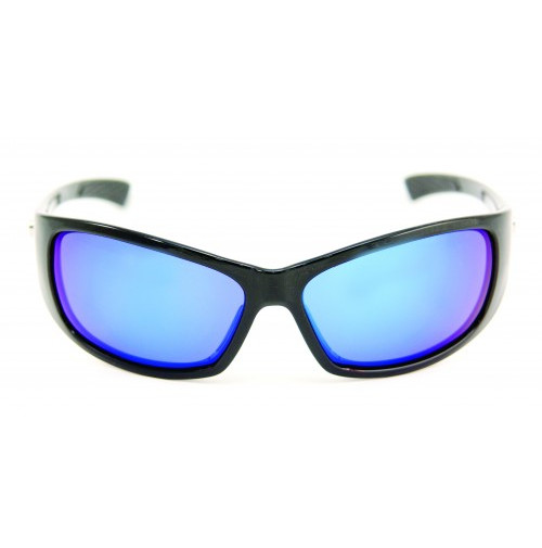 PRO SUNGLASSES GLOSS BLACK FRAME / SMOKE BLUE REVO LENS - HP104A-1 - Mustad