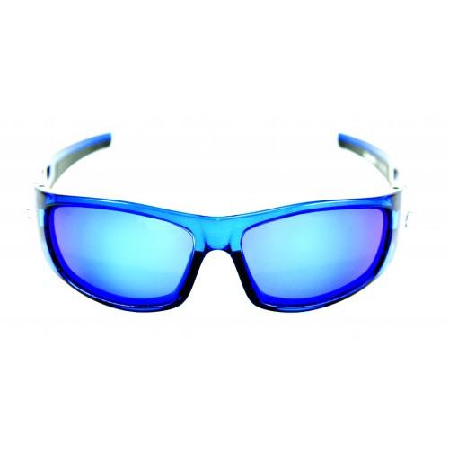 PRO SUNGLASSES CRYSTAL BLUE FRAME / SMOKE BLUE REVO LENS - HP106A-1 - Mustad