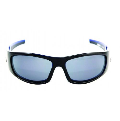 PRO SUNGLASSES GLOSS BLACK BLUE CRYSTAL FRAME / SMOKE LENS - HP106A-2 - Mustad