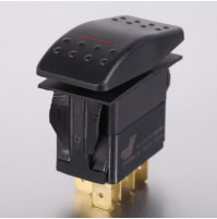 Rocker Switch without Light - 5 phase - Double Pole Single Throw DPST On-Off - JH-A12223ARX - ASM