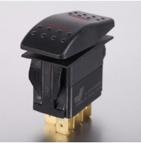 Rocker Switch without Light - 7 phase - Double Pole Double Throw DPDT On-Off-On - JH-A12433ERX - ASM