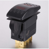 Rocker Switch without Light - 7 phase - Double Pole Double Throw DPDT On-On - JH-A12533CRX - ASM