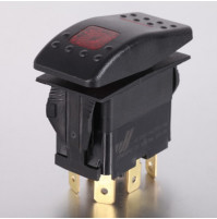 Rocker Switch with Light - 5 phase - Single Pole Double Throw SPDT On-Off-On - JH-A21632ERX - ASM