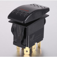 Rocker Switch without Light - 4 phase - Double Pole Single Throw DPST On-Off - JH-A22222ARX - ASM