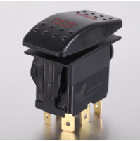 Rocker Switch without Light - 6 phase - Double Pole Double Throw DPDT On-On - JH-A22532CRX - ASM