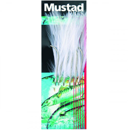 Terminal Tackle - 6 HOOKS WHITE MACKEREL FEATHER TRACE - T9 - Mustad