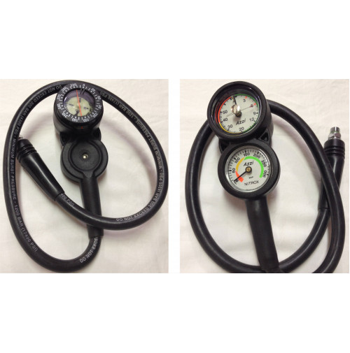 3 Element Console with compass, Depth gauge and Pressure Gauge Nitrox  - CSBM3N - AZZI SUB