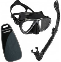 Big Eyes Evo Mask & Alpha Ultra Dry Snorkel Set - Black silicone - ST-CWDS337550 - Cressi