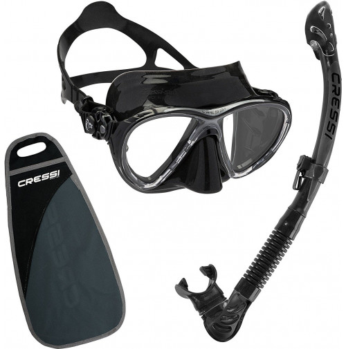 Big Eyes Evo Mask & Alpha Ultra Dry Snorkel Set - Black silicone - ST-CWDS337550 - Cressi