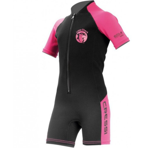 Little Shark 2 mm Kids Shorty Wetsuit for Girls - black/pink - WS-CDG003106X - Cressi