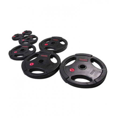 Black Rubber Olympic Plate With Hand Grip TS4114 - Tecnopro