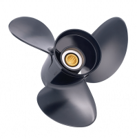 "Amita 3 Aluminum Boat propeller for BRP, Johnson, Evinrude and OMC Stern Drive - 3 Blades - 40-75 HP - Small 3-3/8"" Gear case - 13 Tooth Spline & Thru Hub Exhaust - 2311-130-XX - Solas"
